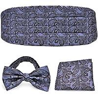 Panse (PenSee) formal one-touch Bowtie & pocket handkerchief and cummerbund set Lilac & Brown Paisley