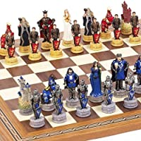 King Arthur the Legend of Camelot Chessmen & Fulton Street Chess Board From Spain. by