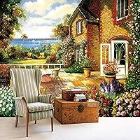 Wxmca カントリースタイルの壁壁画ヨーロッパ農家庭の写真の壁紙3D立体絵画用リビングルームエンボス壁紙-120X100Cm