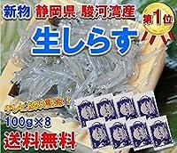 静岡県 駿河湾産 鮮度最高 生 しらす 100g×8袋 (冷凍)( シラス)