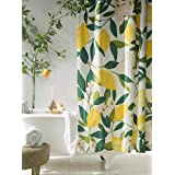 Decorative Lemon Colored Shower Curtain 72 x 72 Inch, Allover Fruits Decor Bath Curtain with Hooks for Bathroom, Waterproof F