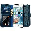 Labato iPhone6S Plus/iPhone6 Plusケース 手帳型 本革レザー TPU スタンド カードポケット 写真窓 手作り ハンドメイド 耐摩擦 耐汚れ(ブルー lbt-I6U-05Z46)