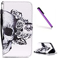 Galaxy S6 Edge Case Samsung G9250 Cover EMAXELER Wallet PU Leather Flip Skin Case with Magnetic Closure for Samsung Galaxy S6 Edge/G9250(Built-in Credit Card/ID Card Slot)-Skull & Gray Flower [並行輸入品]