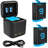 TELESIN GoPro Hero10 9 Battery (2 Pack) and Type-C Cable USB Rapid Charger with 3 Channel for GoPro Hero 9 Black,Perfect Comp