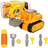 Barwa DIY Take Apart Toys for toddlers Assembly Toy Excavator with Constructions Set, Building Vehicle Truck Play Set with 2