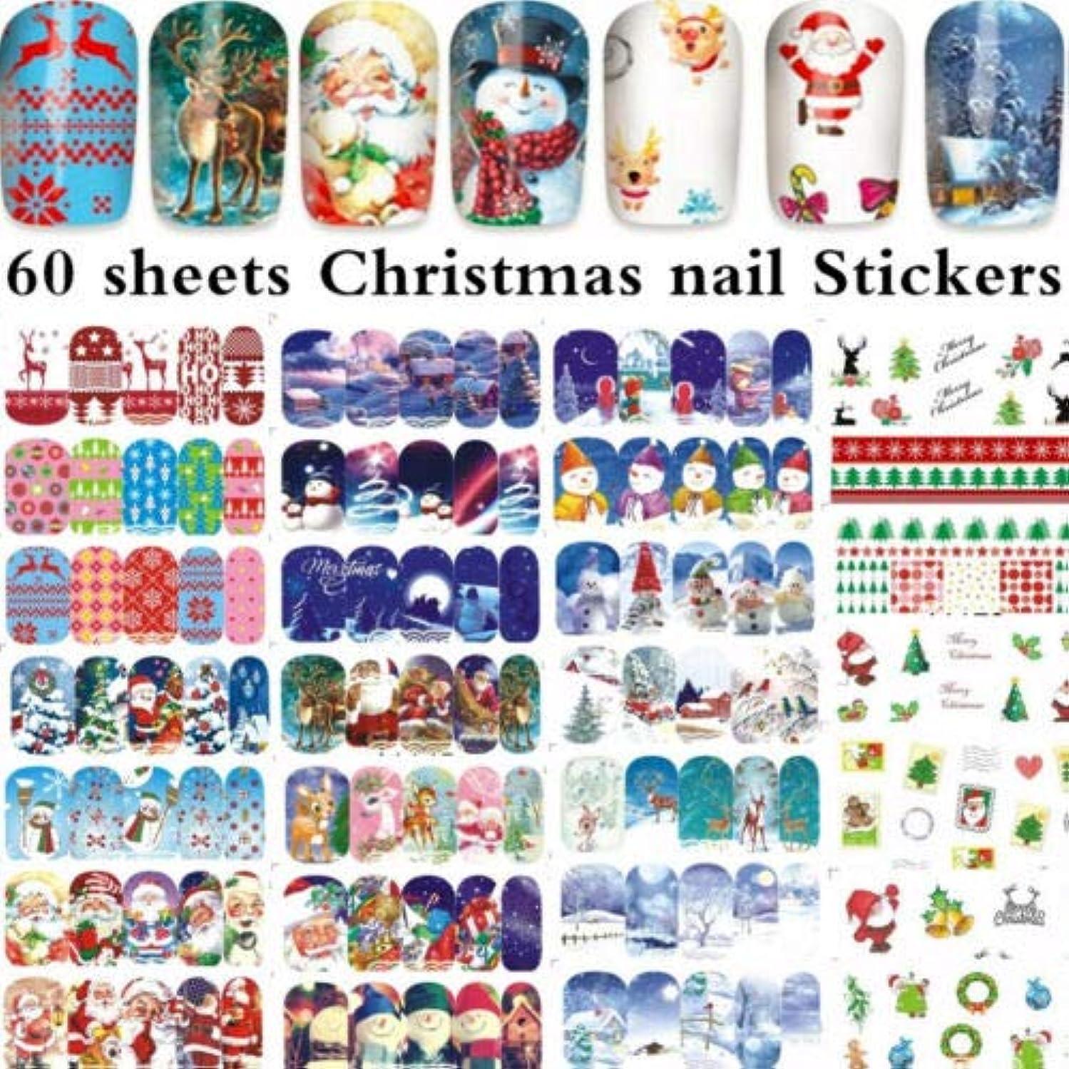 すり減る平和的よりFidgetGear 60枚のクリスマスサンタクロースネイルアート水転写ステッカーのヒントA1129-88#