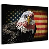 Cool American Bald Eagle USA Flag Canvas Painting Inspirational Wall Art Patriotic Concept Picture Office Living Room Militar