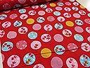 サザンクロス 和柄ドビー 金魚(きんぎょ)サークル レッド赤 |生地 布地|もめん 綿 コットン ジャパニーズ|民芸 京都 和風|大和 ヤマト