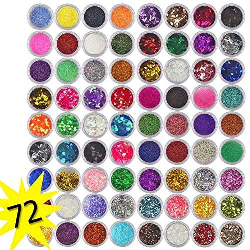 洗う夫婦ラッチ72色グリッターネイルスパンコールパウダー、ネイルアートのヒントデコレーション工芸DIY、グリッターダストパウダーセットのアイシャドウフェイスアイメイクシャドウ顔料パウダー