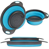 Collapsible Colander, 2 Collapsible Set, Learja Food-Grade Silicone Kitchen Strainer Space-Saver Folding Strainer Colander, S