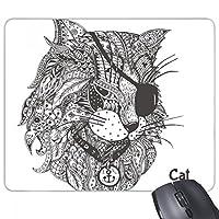 猫は人間のペンキの1つの目 長方形のノンスリップゴムパッドのゲームマウスパッドプレゼント