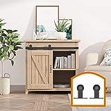 ZEKOO 2.5-8FT Super Mini Sliding Barn Door Hardware Kit Top Mounting Black Roller Rails for Closet TV Stand Furniture Storage