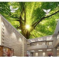 Ansyny 3D部屋の壁紙カスタム壁画壁のステッカー背の高い木の鳩太陽の光絵絵3D壁部屋の壁画壁紙-220X140CM