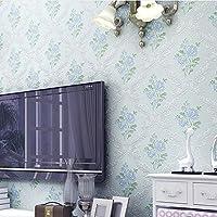 モダンミニマリスト不織布3D壁紙フロッキーホームインテリア居間/寝室テレビ壁紙ロール0.53m(1.73 ')×10m(32.8')=5.3㎡(57平方フィート),lightblue