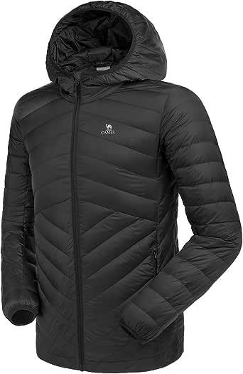 CAMEL CROWN ダウンジャケット メンズ ダウンコート 軽量 防風 防寒 保温 ライトダウン フード付き 大きいサイズ 無地 秋 冬 登山 アウトドア
