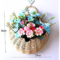 situmi人工フェイク花DIY Grass織り壁マウントされ、花瓶デイジーブルー