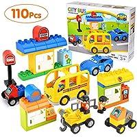 Victostar タウントラック&シティバス ビルディングブロックセット 教育玩具 子供用 110ピース