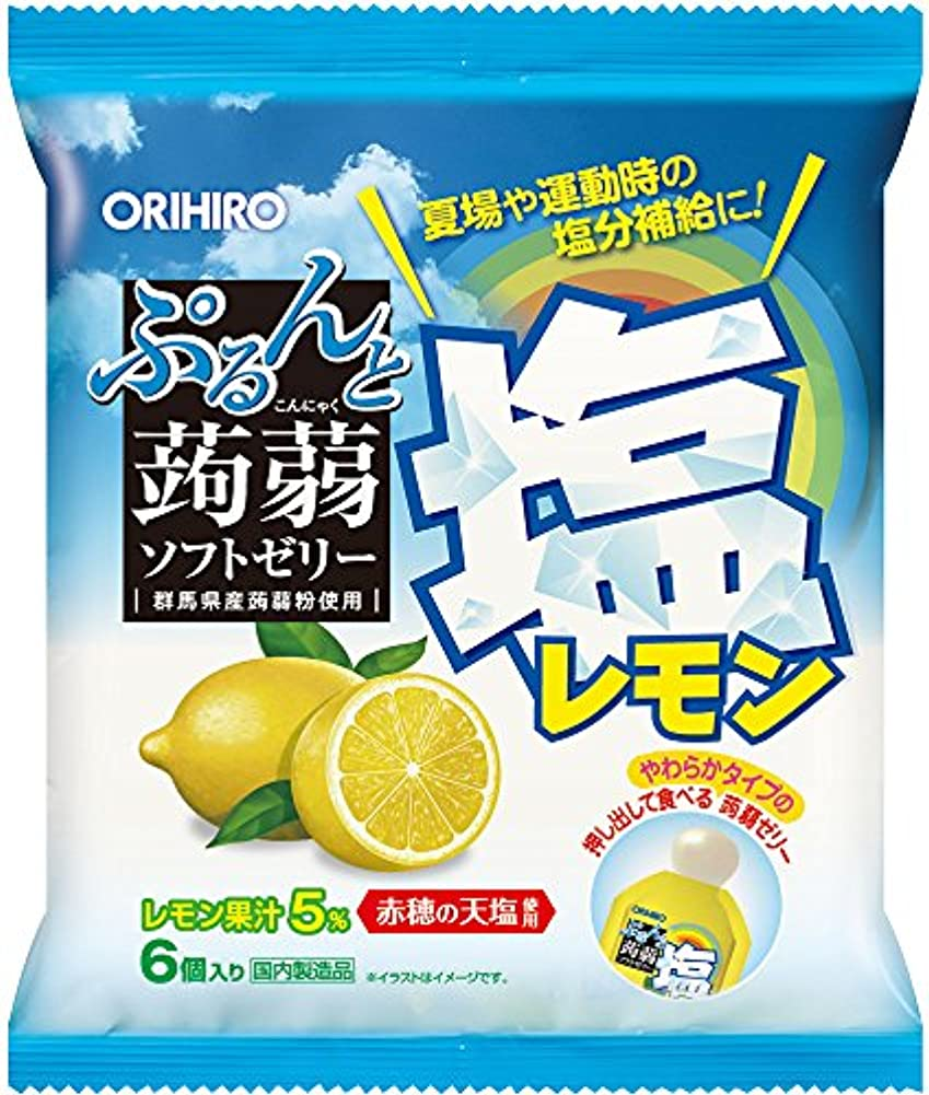 ただセクタ批判オリヒロ ぷるんと蒟蒻ゼリー パウチ 塩レモン 6個