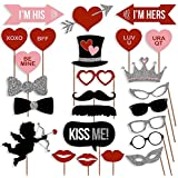 Valentines Day Photo Booth Props New Design 2016, ATTACHED, NO DIY REQUIRED, Party Decorations Photo Booth Moustaches Lips Hearts Ready 2B Used Only By USA-SALES Seller