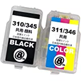 BC-310 / BC-345 共通(BK/顔料ブラック) + BC-311 / BC-346 共通(CL/3色カラー) 【合計2本セット】 最新 互換 《詰め替えインク》 (大容量・1年間保証) 310 311 345 346 BC-310XL B