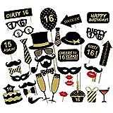 Losuya 16th誕生日パーティー写真ブース小道具36個DIYセット面白いフォトブースProp forユニセックス16th Birthday Celebration