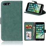iPhone 7 Plus/8 Plus ケース, Apple iPhone 7 Plus/8 Plus ケース, SATURCASE レトロ 曇った レザー 磁気閉鎖 財布型 サポート カードスロット カバーケース Apple iPhone 7 Plus/8 Plus (5.5 inch) (緑)