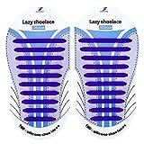 PULL&LOCK 結ばない靴紐 シリコン靴ひも(メンズ キッズ レディース) 高い伸縮性 スニーカー紐 簡単に着脱が出来る! 11カラー 20本入り (ダークブルー)
