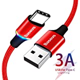 Baseus USB Type C ケーブル 1m Quick Charge 3.0 急速充電 USB2.0 タイプc ケーブル Sony Xperia Ace XZ3 Samsung Galaxy S10 Note 10 Huawei Mate 20 X P30 Pro iPad Proなど多機種対応 永久保証付き (レッド)