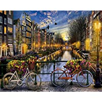 Frameless DIY Painting By Numbers Bicycle Rive Building Love in Amsterdam Kits Acrylic Paint By Numbers Handpainted Oil Painting