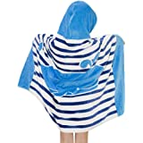 Violet Mist Kid Hooded Poncho Bath Towel Cotton Beach Towel for Toddlers Boys Girls (Whale)