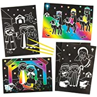 Nativity ScratchアートChristian画像の子を設計し、パーソナライズforクリスマス – クリエイティブクリスマスCraft Toy For Kids ( Pack of 6 )