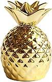 [Queen-b] パイナップル 貯金箱 かわいい 北欧 セラミック 雑貨 インテリア 置物 室内 デスク 卓上 装飾 オブジェ 果物 フルーツ ギフト 贈り物 プレゼント (ゴールド)