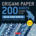 """Origami Paper 200 sheets Blue and White Patterns 6"""" (15 cm): High-Quality Double Sided Origami Sheets Printed with 12 Differe"""