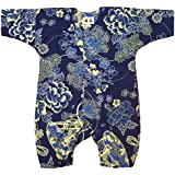 【金彩牡丹と桜?藍紺】 お祭りロンパース 赤ちゃん用 お祭り衣装 男女兼用 義若オリジナル商品