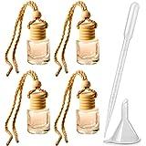4pcs 8ml Refillable Car Hanging Glass Perfume Bottle Cylindrical Pendant Perfume Aromatherapy Bottle Hanging Diffuser Bottle