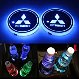 for Mitsubishi LED Cup Holder Lights,FBA Fast Delivery, Car Logo Coaster Lights with Multiple Colors, USB Charging Pads, Lumi