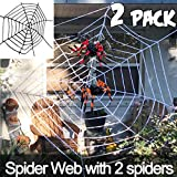 2 Pack Halloween Spider Web Decoration, Come with Two Spider Indoor Outdoor Yard Haunted House Halloween Party Decor Supplies(Black+White 5 Feet)