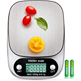 Digital Kitchen Scale 5000g/0.1g Multifunction Electronic Food Weight Gram Ounce 11lb/G OZ ML CT KG TL LB FL:OZ/Stainless Ste