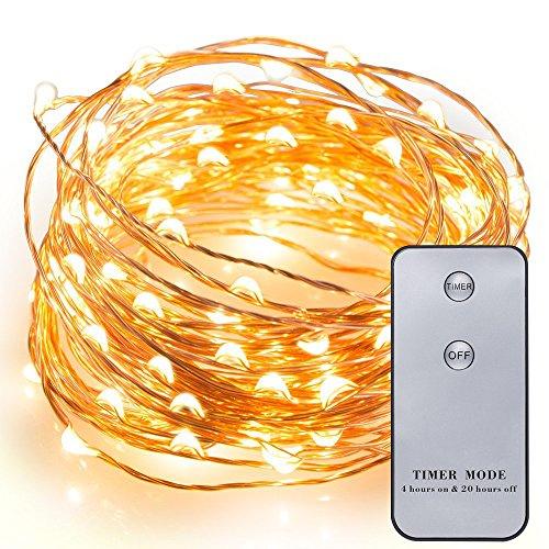 Kohree 20ft 120LEDフェアリーライト 銅線ワイヤ リモコン搭載 クリスマス/ウエディング/パーティー