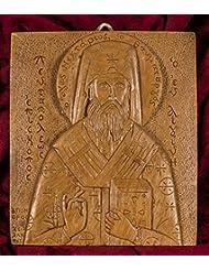 Saint NektariosのAegina手彫りAromatic Greekロシア正教アイコンプラークMade withビーズワックス、Mastic and IncenseからマウントAthos