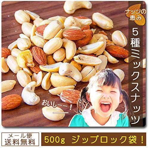 ミックスナッツ5種 500g 送料無料 アーモンド バターピーナッツ カシューナッツ 珍豆 ジャイアントコーン