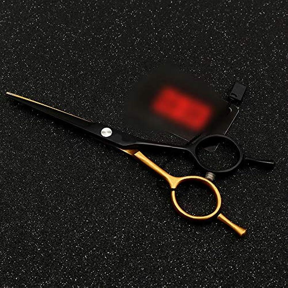 深遠機動無線Hairdressing 5.5インチパーソナライズされた散髪はさみ、平らなせん断+歯はさみa単語はさみ髪を切るはさみステンレス理髪はさみ (色 : Gold black)