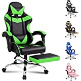 ALFORDSON Gaming Chair Racing Chair Executive Sport Office Chair with Footrest PU Leather Armrest Headrest Home Chair in Gree