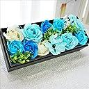 BIOフレグランスソープフラワー ローズBOXミニョン フタ付ボックス お祝い 記念日 お見舞い バレンタインデー ホワイトデー 母の日 (ブルー)