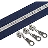 YaHoGa #5 Silver Metallic Nylon Coil Zippers by The Yard Bulk Blue Tape 10 Yards with 25pcs Sliders for DIY Sewing Tailor Cra