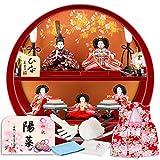 雛人形 コンパクト ひな人形 雛 五人飾り 丸型二段飾り 美光作 ひな 3.白檀塗 種類 h313-sb-maru5-kpb