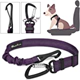 SlowTon Dog Seatbelt, Pet Car Seat Belt Latch Bar Attachment Lockable Swivel Carabiner Small Medium Large Dogs Adjustable Ela