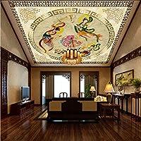 Wxmca 敦煌フライングフェアリーの大規模なカスタムHomeionsコンチネンタルホテルヴィラ天井フレスコ画-250X175Cm