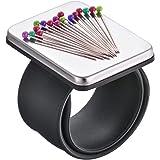 磁石式リストソーイングピンクッション マグネットピンホルダー 縫製用リストバンド + シリコンブラックとレッドのリストバ…