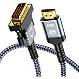 HDMI to DVI Cable (6 Feet) Bi-Directional Nylon Braid Support 1080P Full DVI-D Male to HDMI Male High Speed Adapter Cable Gol
